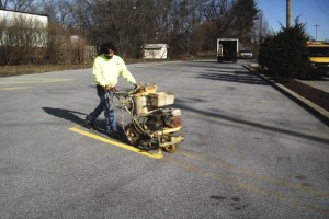 Re-striping a parking lot by Suttons Contracting