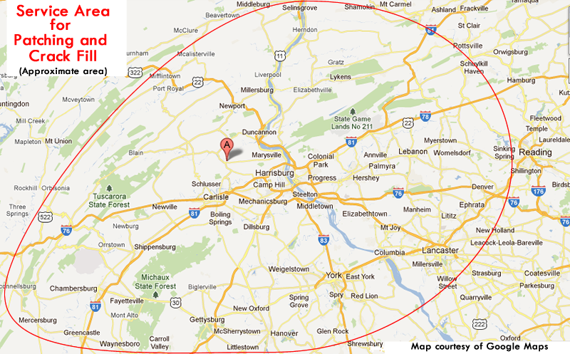 Our approximate service area for patching and crack fill.