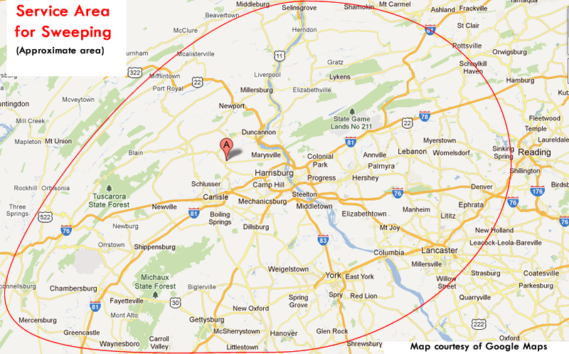 Our approximate service area for sweeping